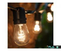 Ghirlanda Luminoasa, 15M cu 15 Becuri Incandescente E27, Lumina Calda, De Exterior